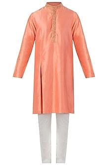 Orange Box Pleated Embroidered Kurta with Pants