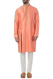 Orange Box Pleated Embroidered Kurta with Pants by SVA BY SONAM & PARAS MODI