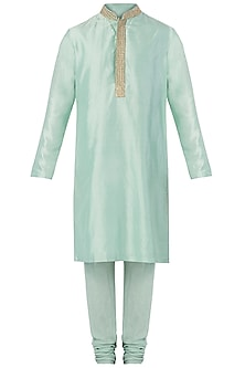 Mint Embroidered Kurta with Churidar Pants