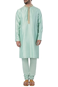 Mint Embroidered Kurta with Churidar Pants by SVA BY SONAM & PARAS MODI
