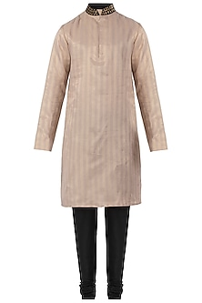 Beige Embroidered Kurta with Black Pants by SVA BY SONAM & PARAS MODI