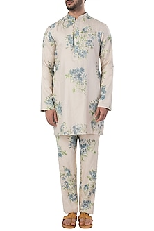 Beige and Blue Jaal Printed Kurta with Pants by SVA BY SONAM & PARAS MODI