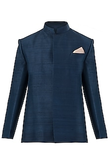 Midnight Blue Jacket by SVA BY SONAM & PARAS MODI