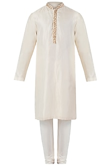 Beige Embroidered Kurta with Pants by SVA BY SONAM & PARAS MODI