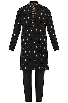 Black Metal Embroidered Kurta with Pants