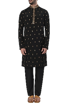 Black Metal Embroidered Kurta with Pants by SVA BY SONAM & PARAS MODI