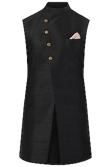 Black Long Nehru Jacket by SVA BY SONAM & PARAS MODI