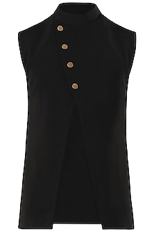 Black Cross Over Nehru Jacket