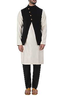 Black Cross Over Nehru Jacket by SVA BY SONAM & PARAS MODI