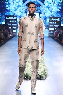 Beige and Blue Embroidered Kurta with Dahlia Print Pleated Pants by SVA BY SONAM & PARAS MODI