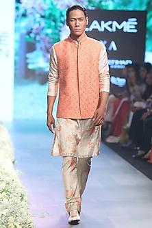 Orange Embroidered Bundi Jacket by SVA BY SONAM & PARAS MODI