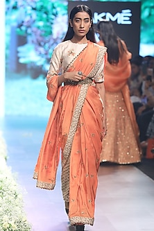 Orange Embroidered Saree with Beige Dahlia Print Blouse, Pants and Belt
