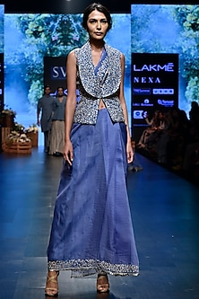 Mineral Blue Embroidered Saree Set with Jacket by SVA BY SONAM & PARAS MODI