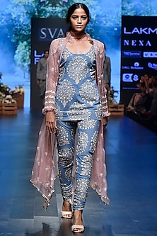 Blue Printed Denim Kurta With Pants & Embroidered Jacket by SVA BY SONAM & PARAS MODI