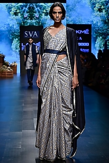 Beige Embroidered Printed Saree Set With Cape by SVA BY SONAM & PARAS MODI