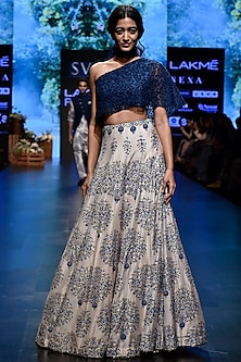Medium Blue Embroidered Printed Blouse With Lehenga Skirt