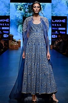 Blue Embroidered Anarkali Kurta With Pants & Cape