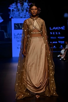 Beige Embellished Crop Top with Cape and Ombre Cowl Skirt by SVA BY SONAM & PARAS MODI