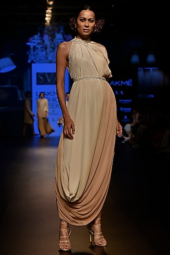 Beige Embellished Cowl Dress with Belt by SVA BY SONAM & PARAS MODI