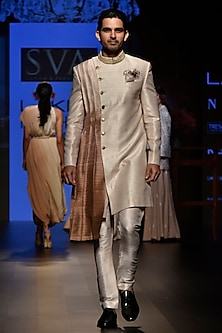 Beige Ombre Embroidered Sherwani Set