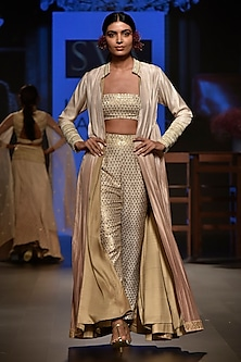 Beige Embellished Bustier with Cigarette Pants and Jacket