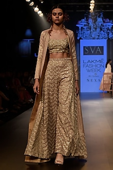 Beige Sequins Embellished Crop Top with Sharara Pants Set by SVA BY SONAM & PARAS MODI