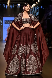 Dark Purple Embellished Lehenga Set with Cape