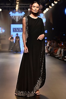 Black Embroidered One Shoulder Drape Saree with Pants and Bustier