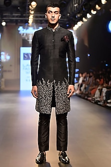 Black Sequins Embellished Sherwani Set