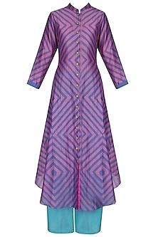 Pink And Purple Shibori Effect Asymmetric Kurta With Palazzo Pants  by Swati Vijaivargie