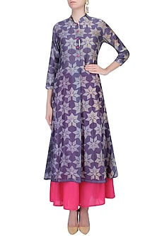 Purple And Grey Shibori Floral Print Kurta With Palazzo Pants by Swati Vijaivargie