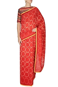 Red And Yellow Printed Saree by Swati Vijaivargie