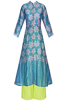 Pink and Blue Shibori Kilim Print Kurta With Palazzo Pants by Swati Vijaivargie