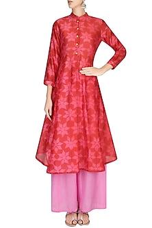 Red and Pink Shibori Flower Print Kurta With Palazzo Pants by Swati Vijaivargie