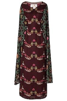 Maroon Bundi Print Maxi Dress