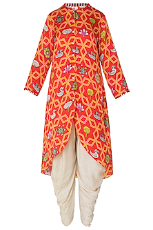 Red Asymmetrical Printed Kurta with Off White Dhoti Pants