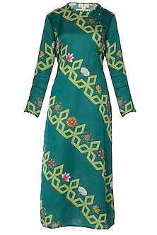 Dark Teal Diagonal Bundi Print Kurta