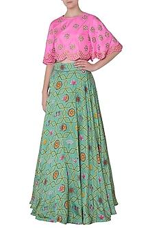 Light Teal Lehenga Skirt with Pink Floral Embroidered Crop Top by Swati Vijaivargie
