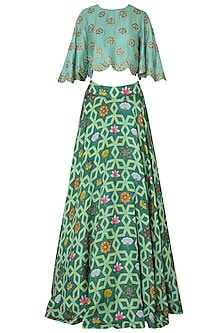 Dark Teal Lehenga Skirt with Floral Embroidered Crop Top