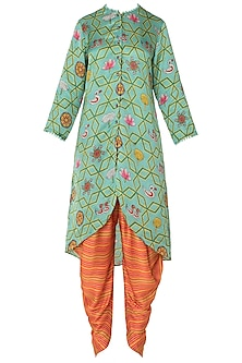 Light Teal Asymmetrical Printed Kurta with Striped Dhoti Pants