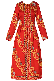 Red Diagonal Print Front Open Jacket with Beige Dress