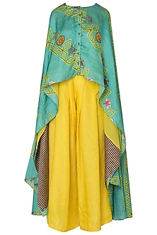 Light Teal Jaal Print Asymmetrical Cape with Yellow Pleated Pants