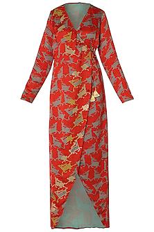 Red Asymmetrical Deer Print Wrap Dress