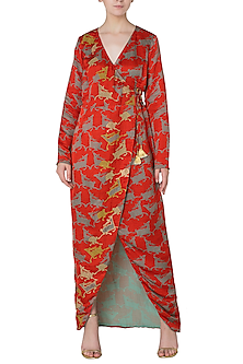 12bfc789f144ab Red asymmetrical deer print wrap dress available only at Pernia s ...