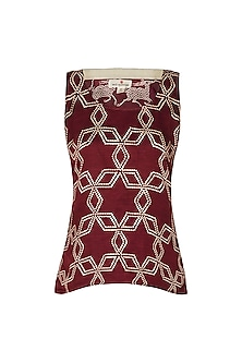 Maroon Abstract Star Print Camisole by Swati Vijaivargie