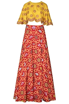 Orange Bundi Scarlet Jaal Printed Lehnega with Yellow Crop Top
