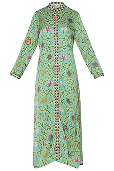 Light Teal Printed Straight Kurta