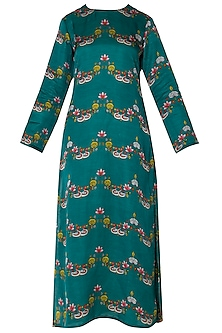 Dark Teal Scallop Printed Straight Kurta