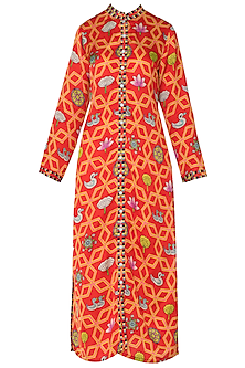 Orange Bundi Scarlet Jaal Printed Kurta