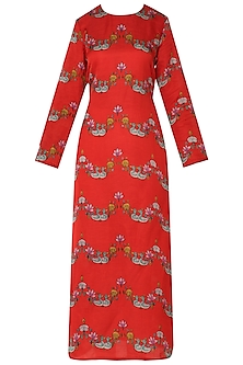 Red Bundi Scallop Printed Kurta